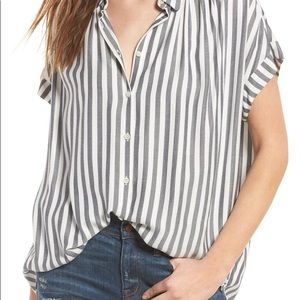 Madewell Central Top in Gray Stripe